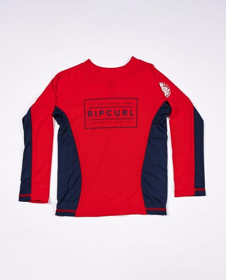 Driven Box Long Sleeve UV Tee Rash Vest Boys (0 - 6 years) in Red