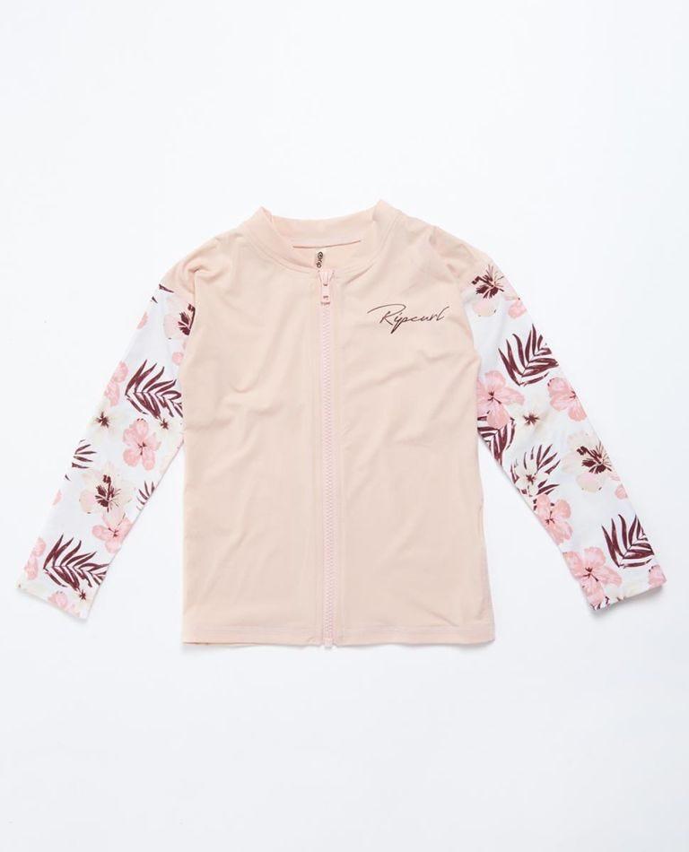Tropic Long Sleeve Zip Through UV Tee Rash Vest Girls (0 - 6 years) in Pink