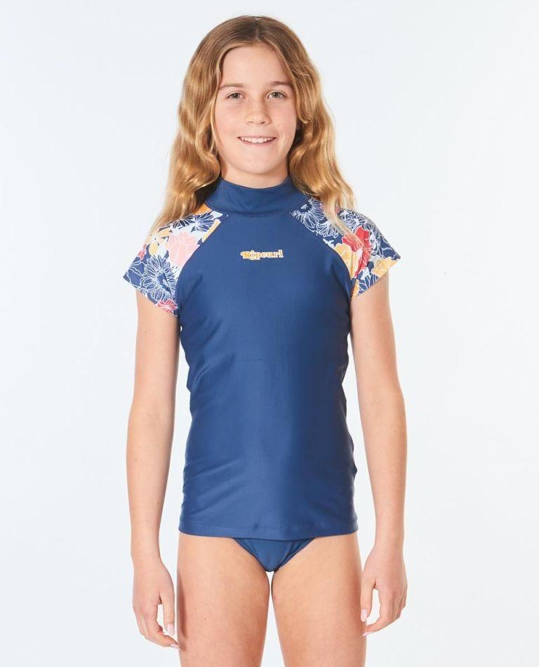 Cap Sleeve UV Tee Rash Vest Girls (8 - 16 years) in Navy