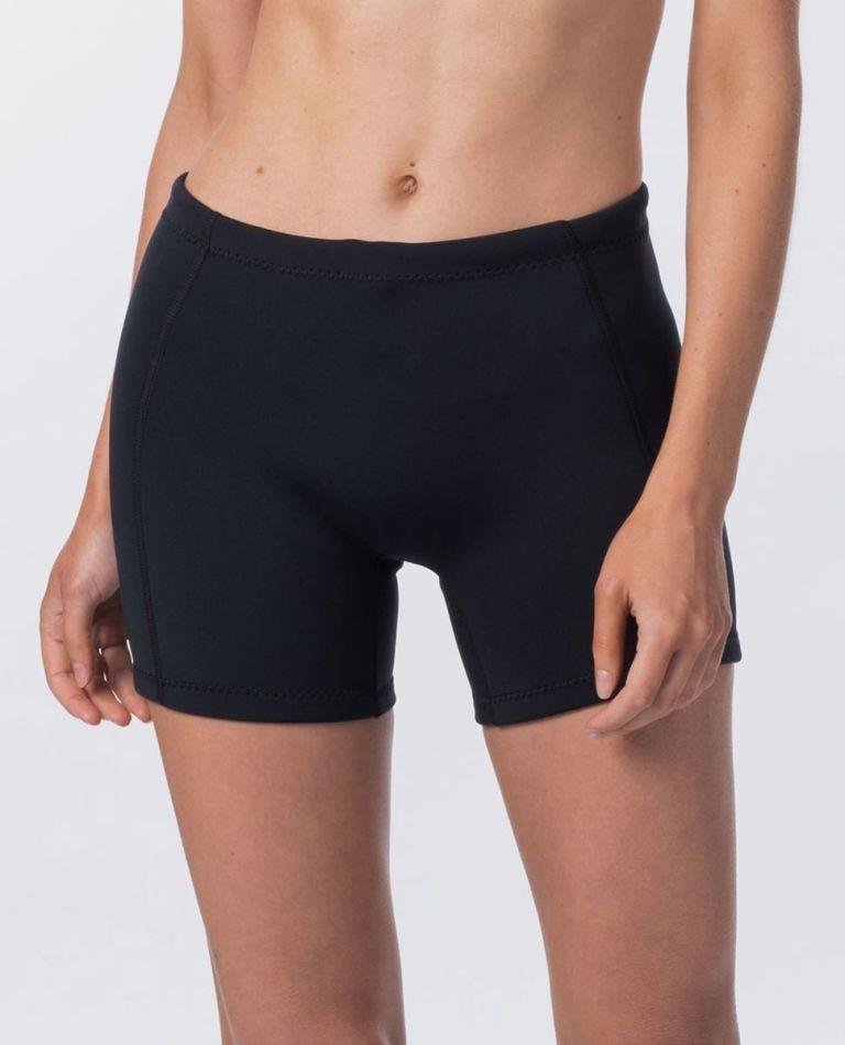 Womens Dawn Patrol 1mm Neo Wetsuit Shorts in Black