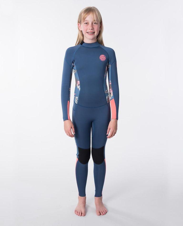 Junior Girls Dawn Patrol 3/2 Back Zip Wetsuit in Coral