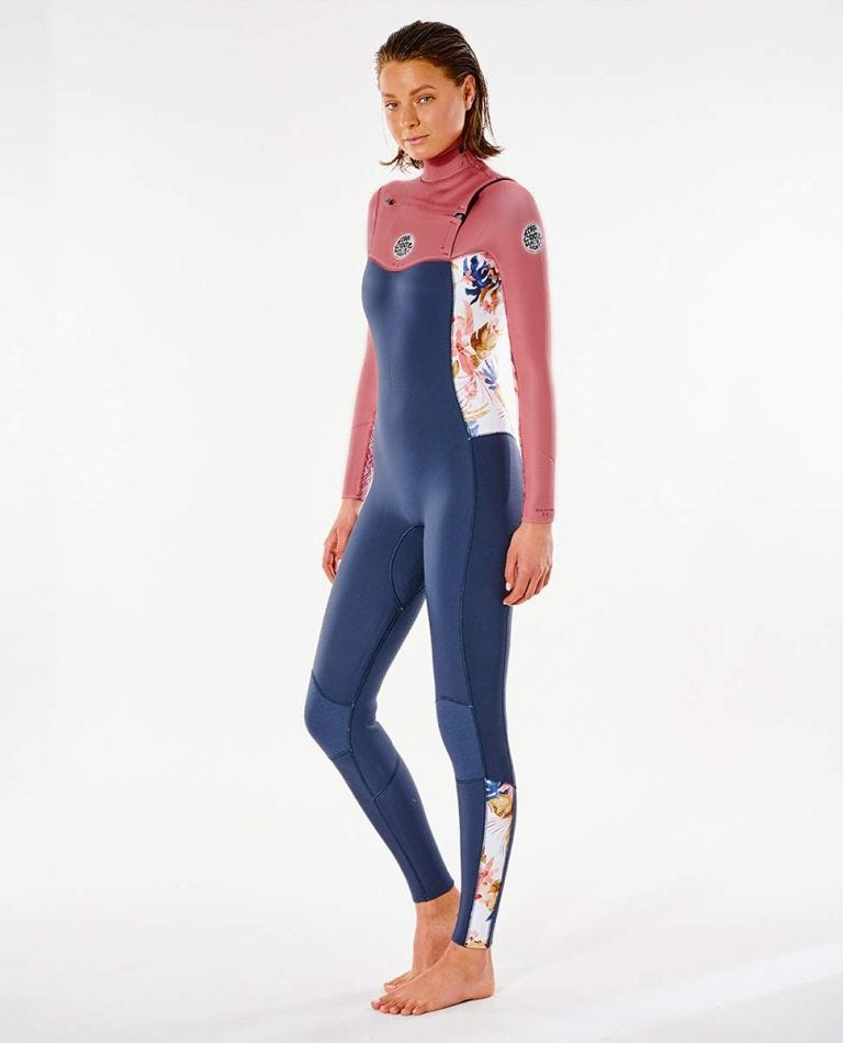 Womens Dawn Patrol 3/2 Chest Zip Wetsuit in Slate Rose