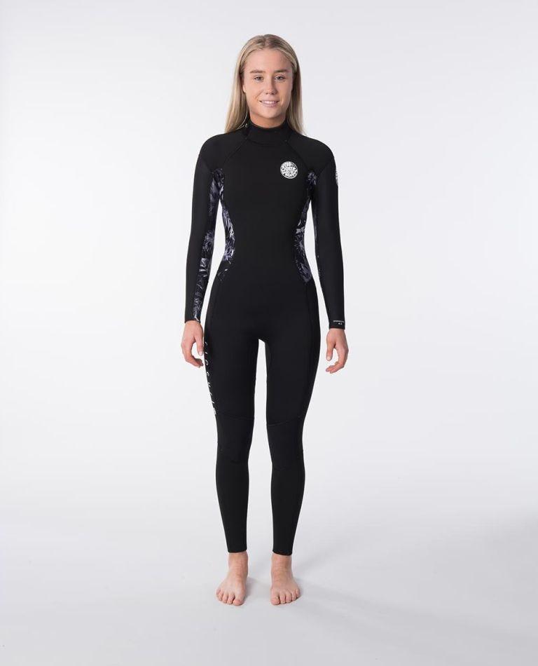 Dawn Patrol 4/3mm Back Zip Womens Wetsuit Steamer in Black/Grey