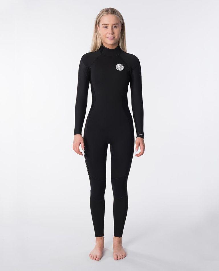 Womens Dawn Patrol 3/2 Back Zip Wetsuit in Black