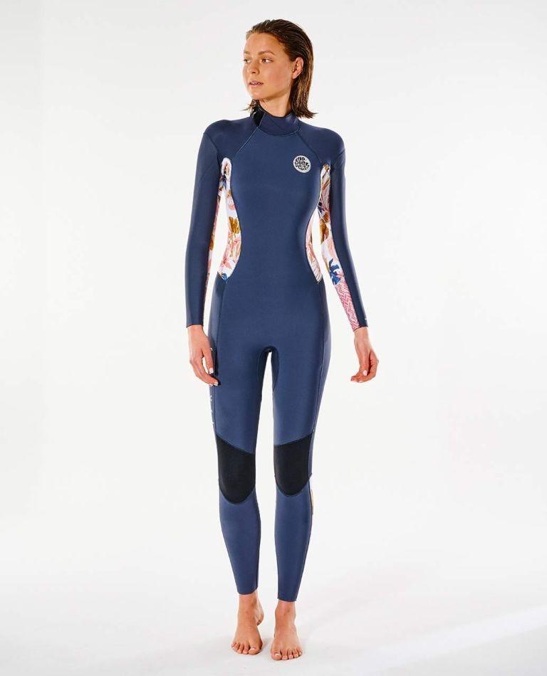 Womens Dawn Patrol 4/3 Back Zip Wetsuit in Slate Rose