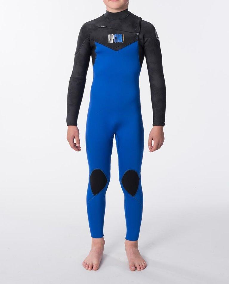 Junior Dawn Patrol 3/2 Chest Zip Wetsuit in Black/Blue