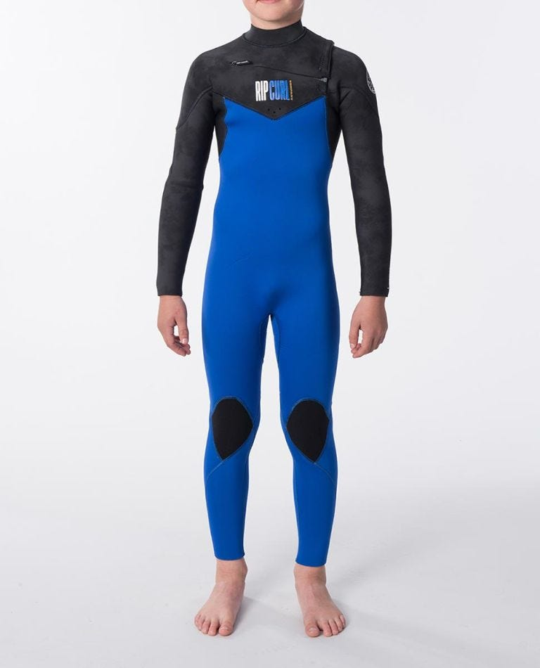 Junior Dawn Patrol 4/3 Chest Zip Wetsuit in Black/Blue