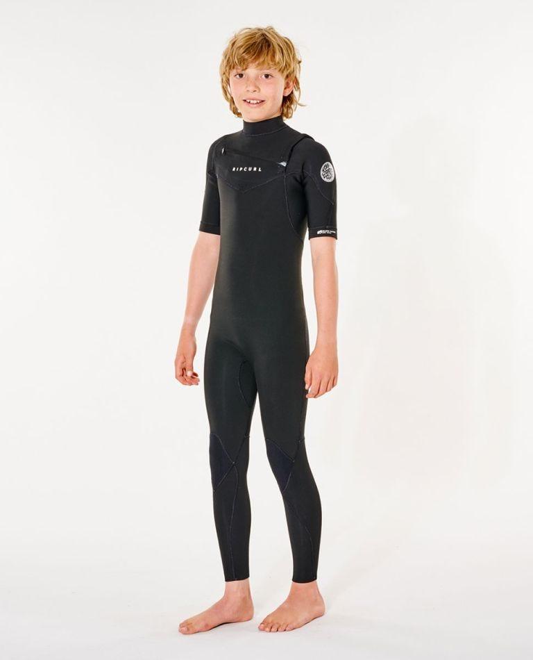 Junior Dawn Patrol 2/2mm Short Sleeve Wetsuit Steamer in Black