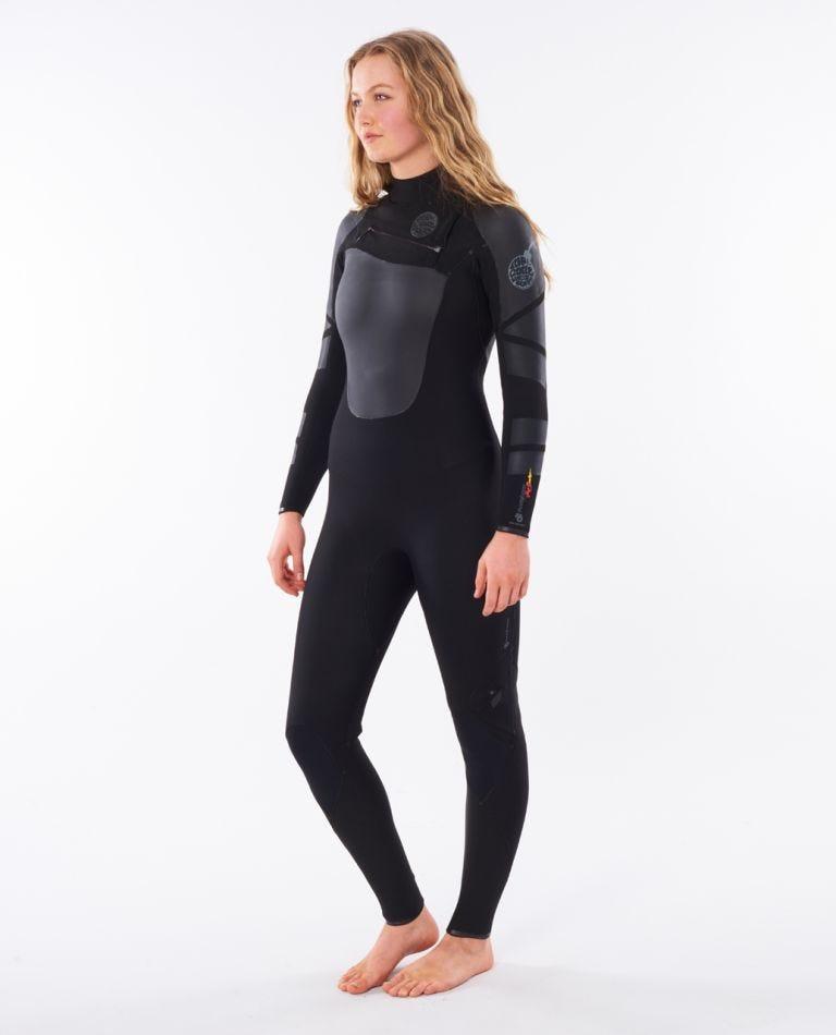 Womens Flashbomb Heatseeker 4/3 Chest Zip Wetsuit in Black