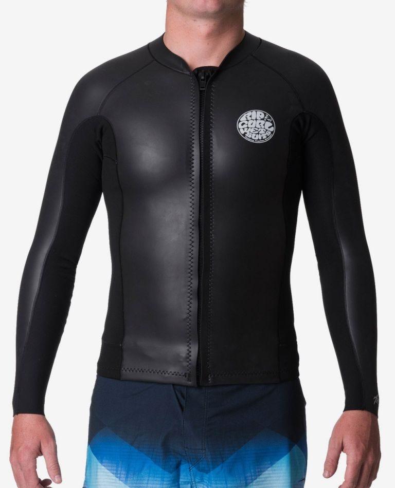 Aggrolite 1.5mm  Front Zip Jacket in Black