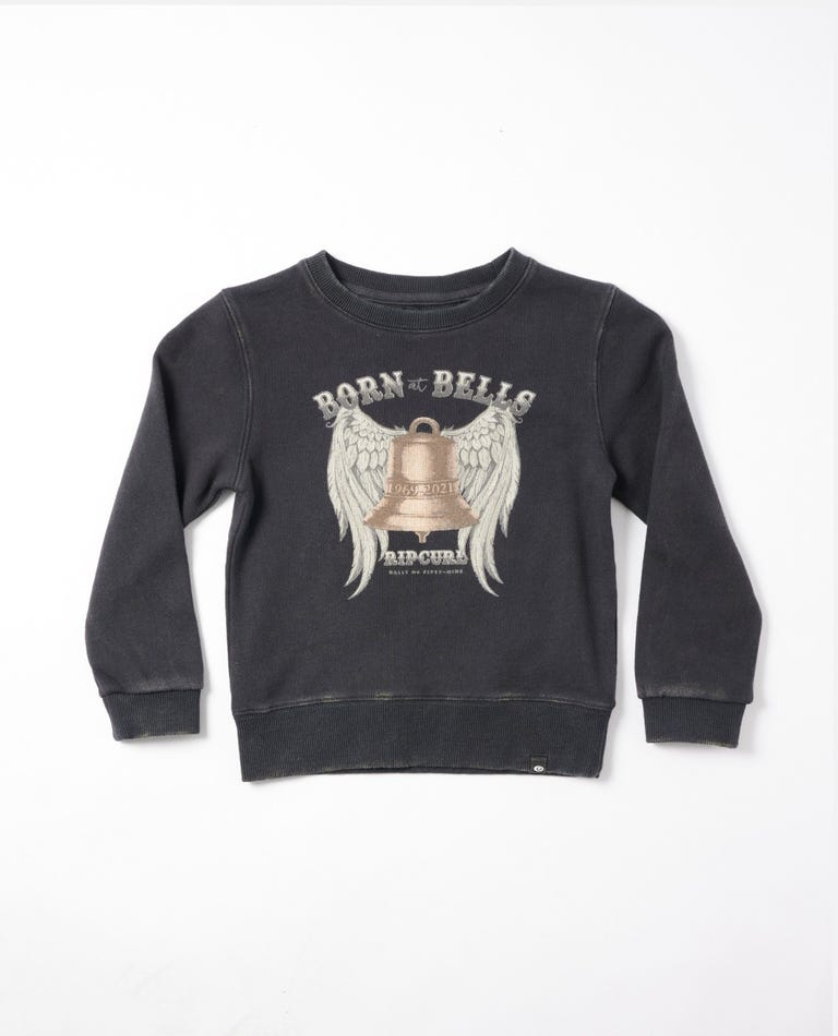 Born At Bells Crew Girls (0-7 years) in Washed Black