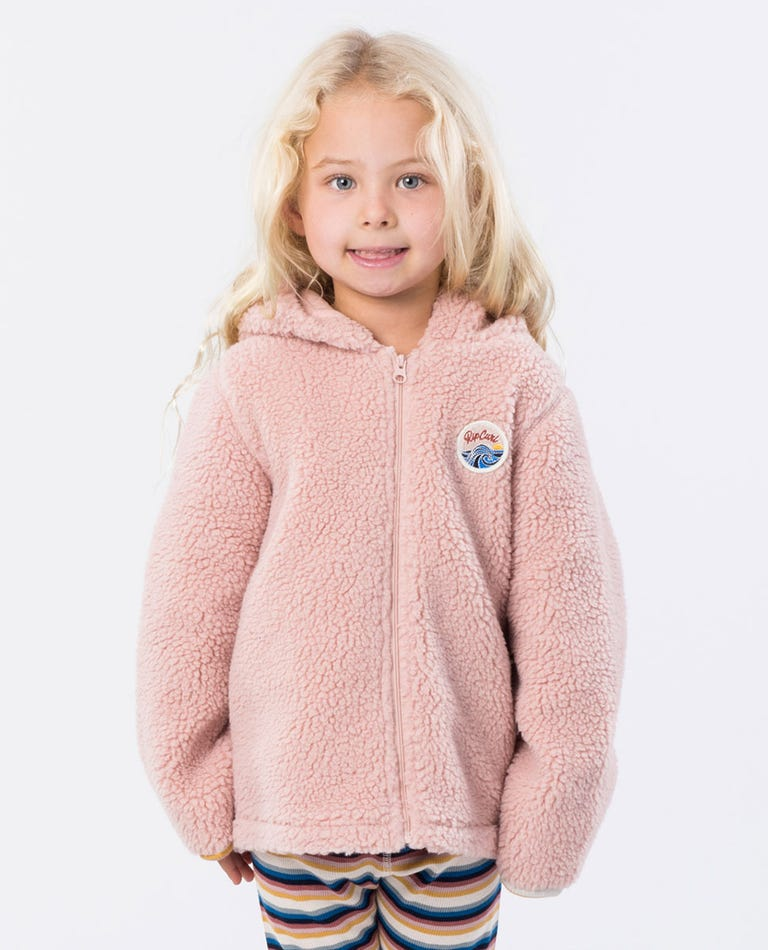 Mini Surfin Zip Thru Hooded Jumper in Dusk Pink