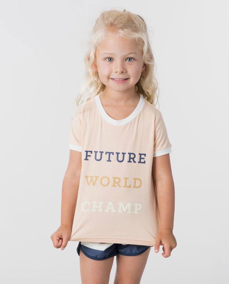 Mini Future World Champ Tee in Peach