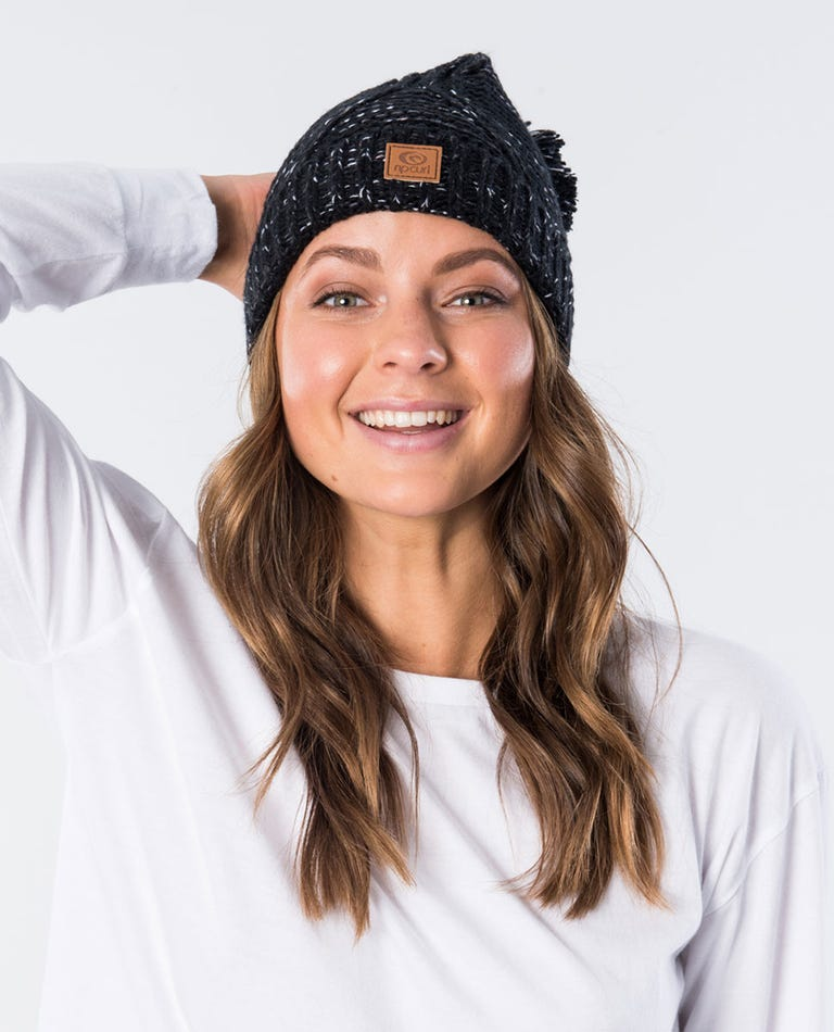 Flecker Pom Pom Beanie in Black