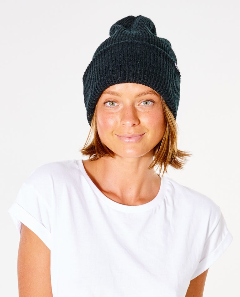 Eclipse Beanie in Washed Black