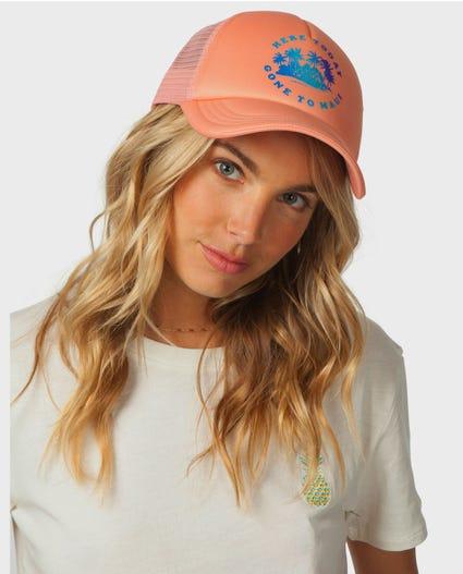 Gone To Maui Trucker Hat in Peach