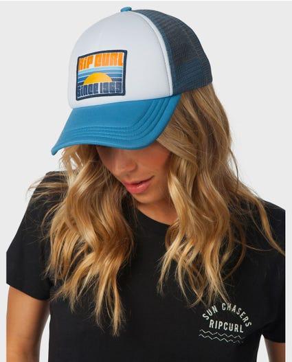 Sunset Trucker Hat in Mid Blue
