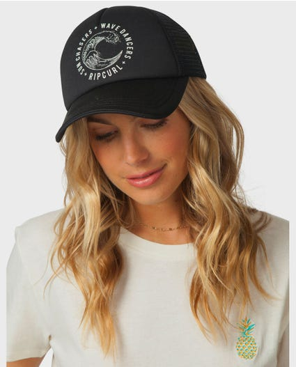 Wave Dancer Trucker Hat in Black