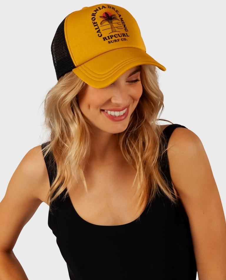 California Dream Trucker Hat in Mustard