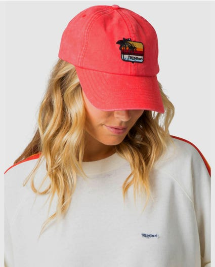 Washed Surf Lines Cap in Rose
