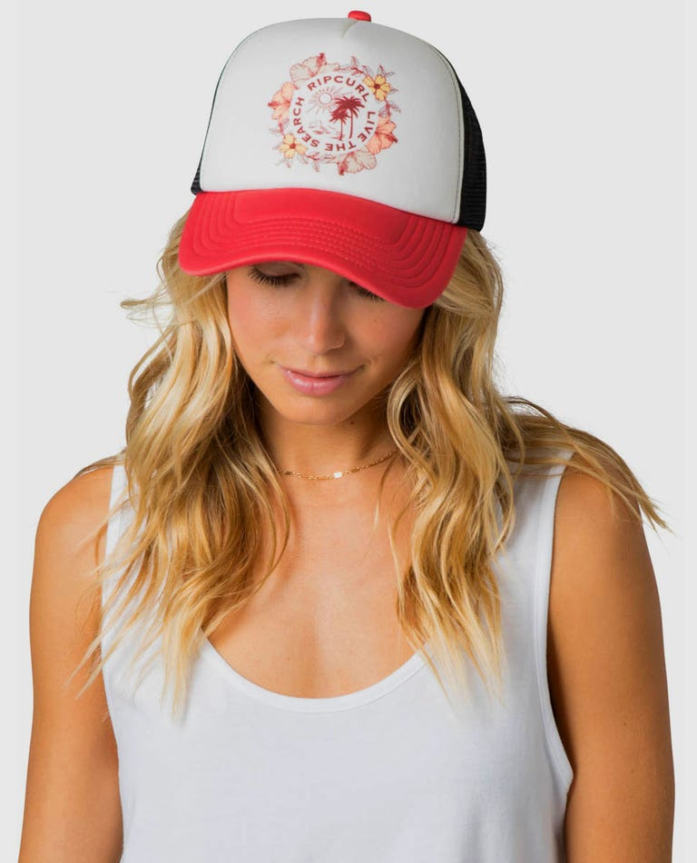 Island Surf Trucker Hat in Light Pink