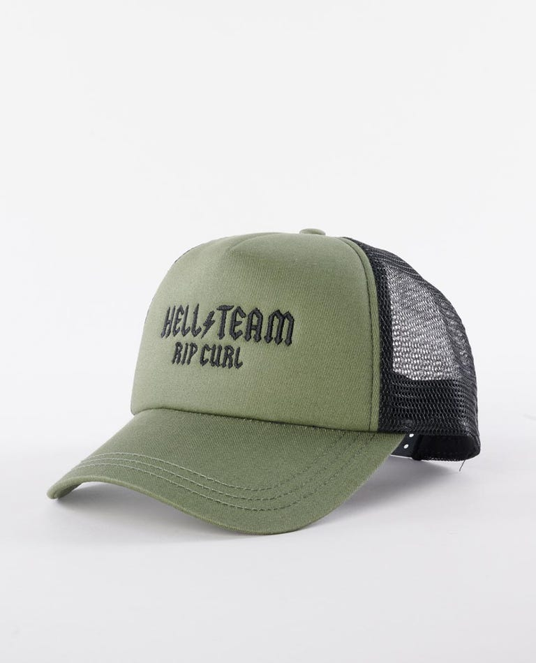 Hell Team Trucker Hat in Olive