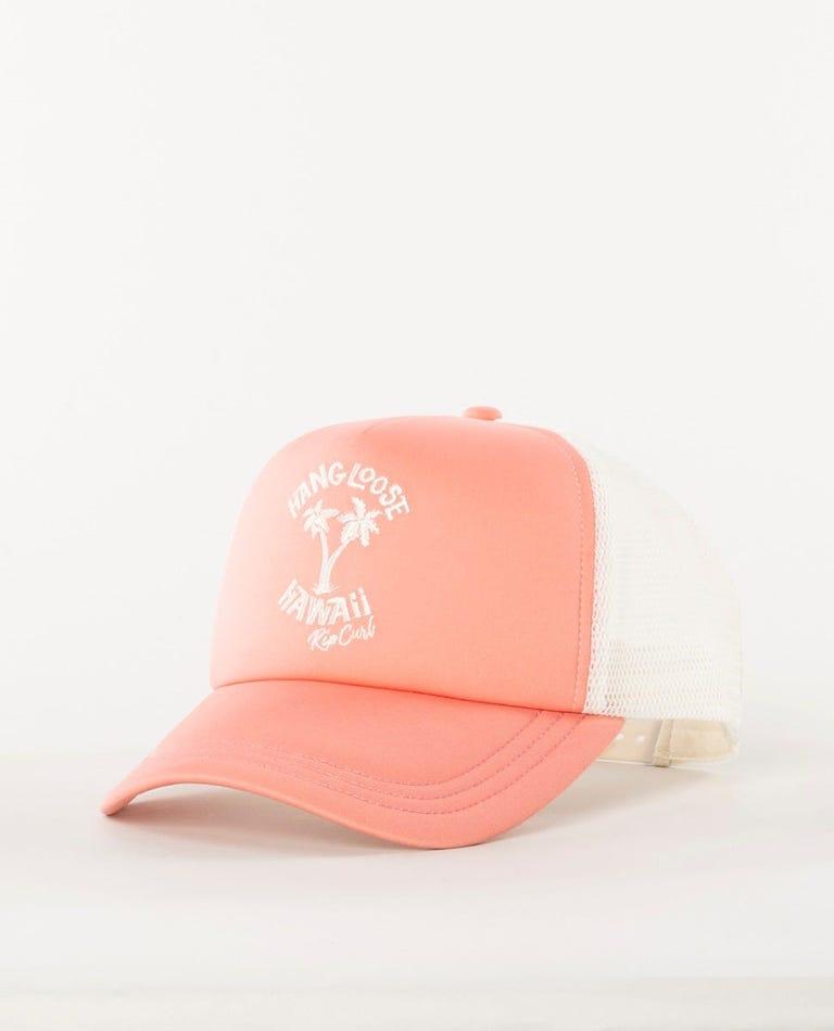 Hang Loose Hawaii Trucker Cap in Peach