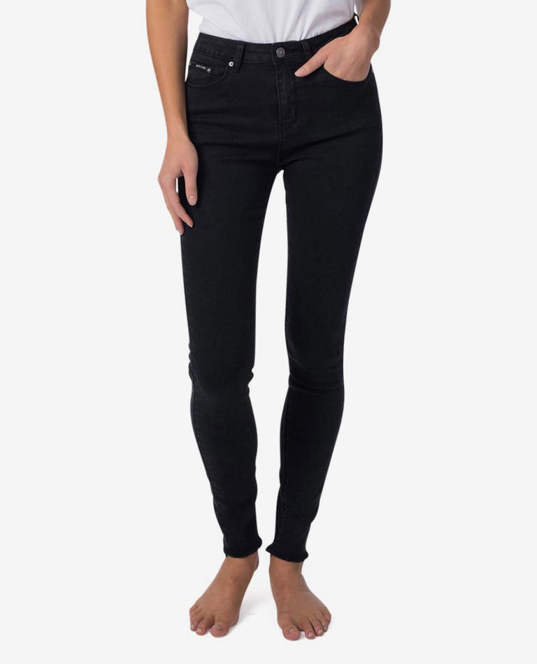 Bells High Skinny Jean in Washed Black