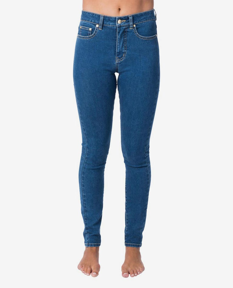 Pins High Jean in Mid Blue