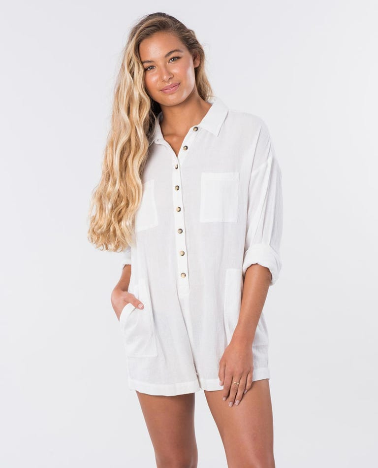 The Adrift Romper in White