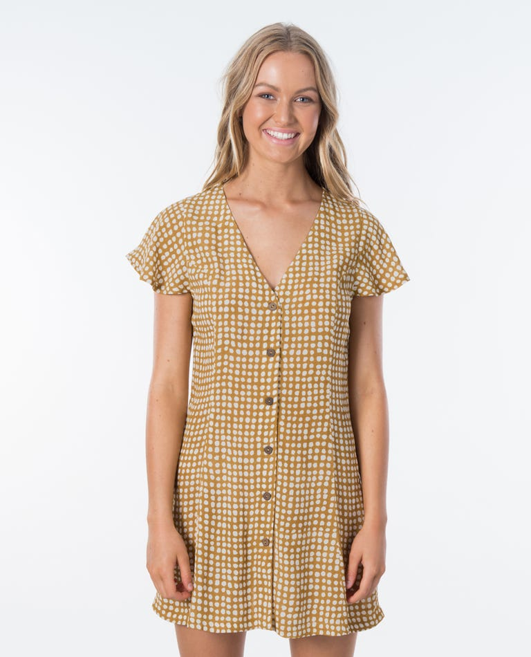 Paradise Cove Spot Dress in Gold