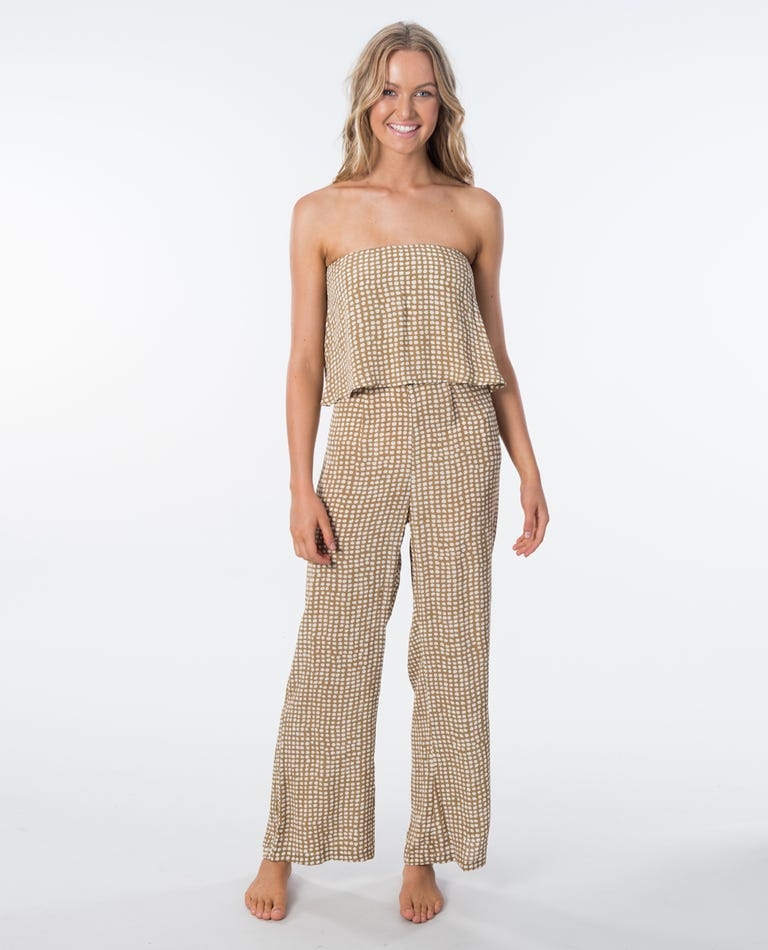 Paradise Cove Spot Jumpsuit in Gold