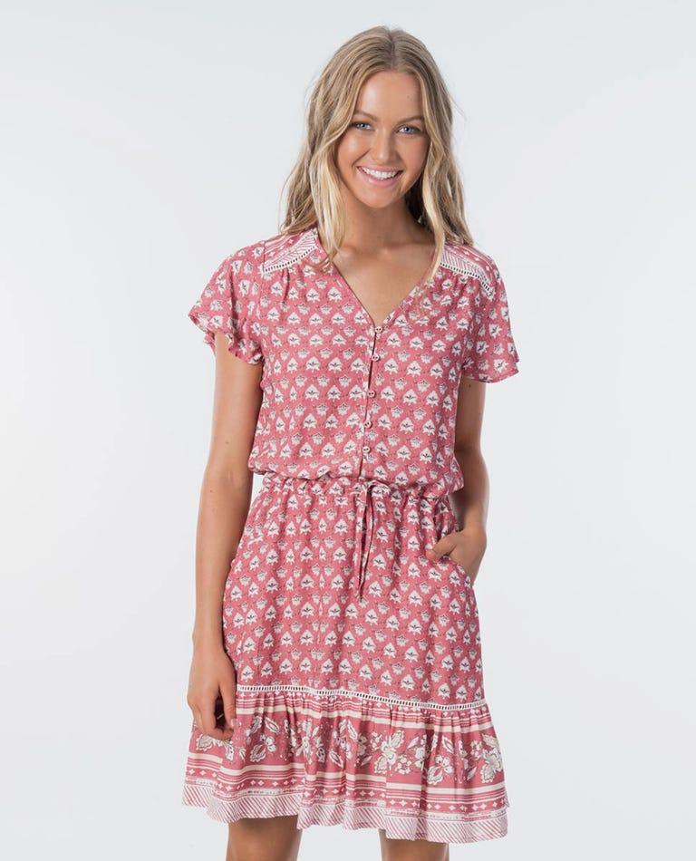 Navy Beach Dress in Dusty Rose