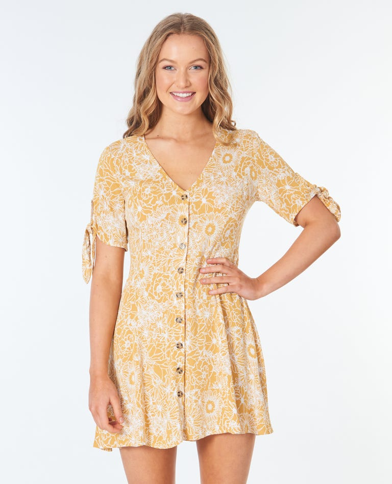 Golden Days Floral Dress in Yellow