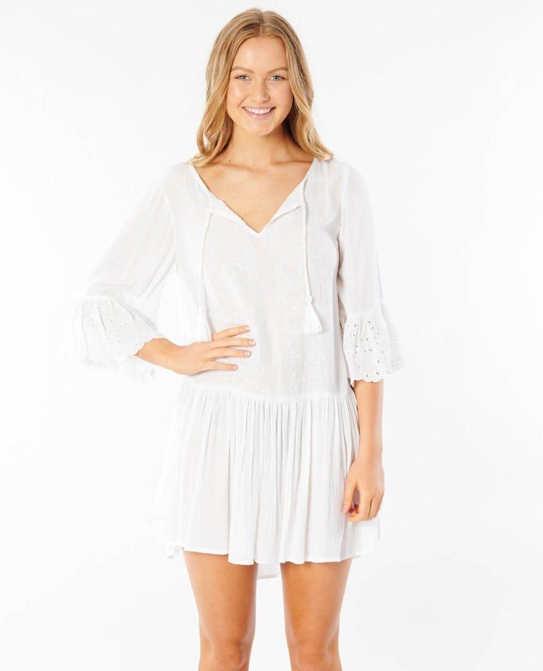 Sun Rays Dress in White