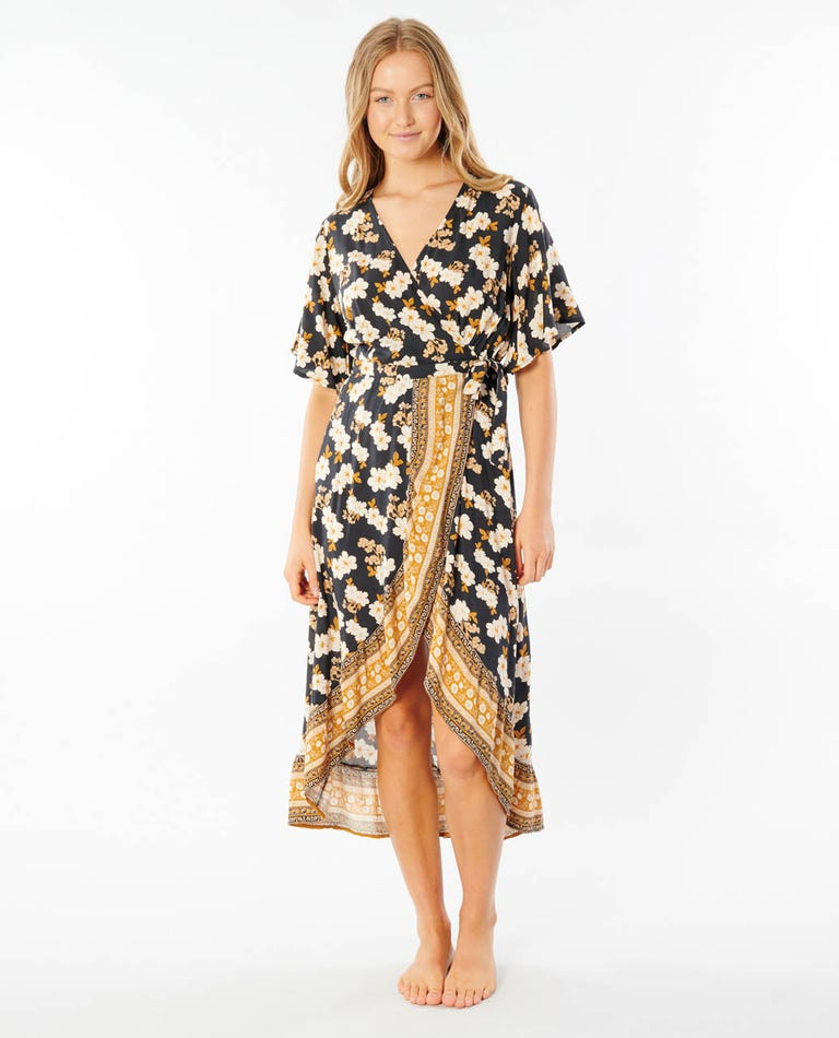 Marigold Wrap Dress in Black