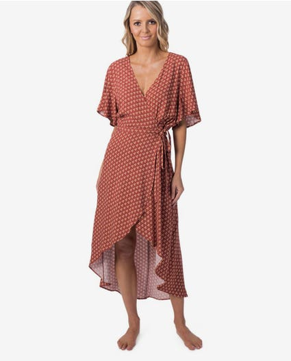 Saffron Skies Wrap Dress in Rust