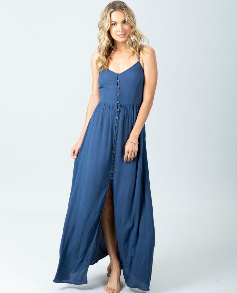 Sunsetters Solid Maxi Dress in Dark Blue