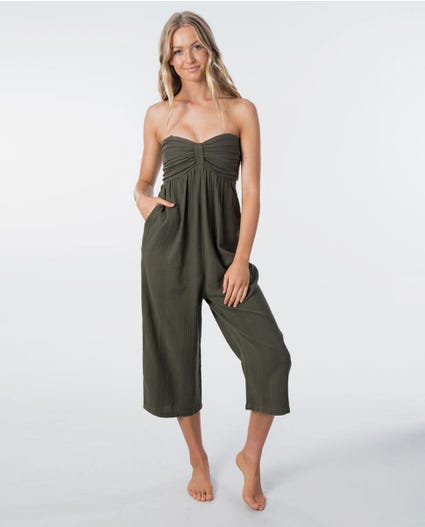 Wategoes Shirred Jumpsuit in Olive