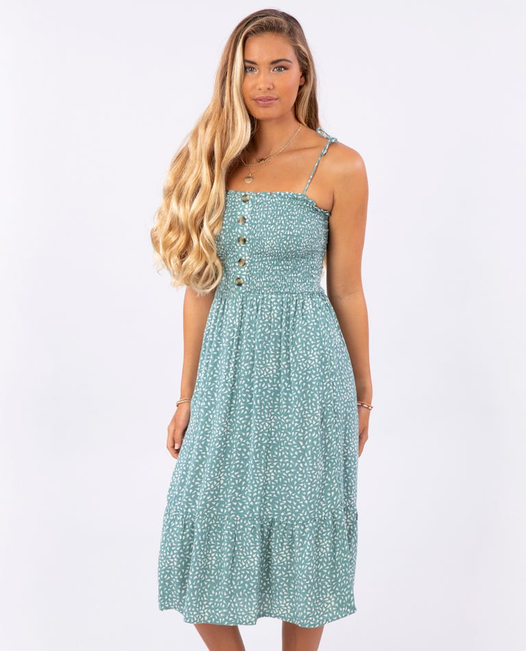 In The Tropics Midi Dress in Forest Green