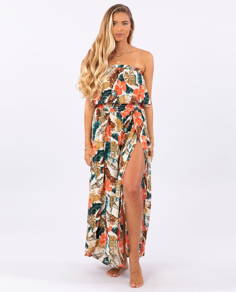 Tropic Coast Maxi Dress in Hot Coral