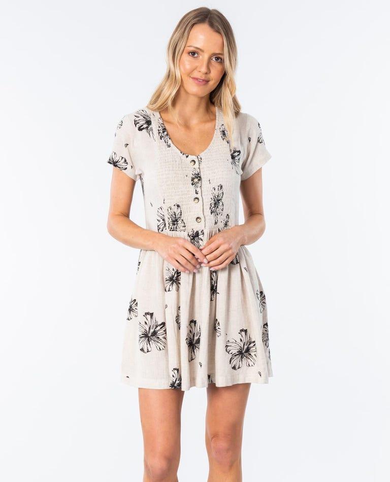 Coastal Hibiscus Dress in Natural