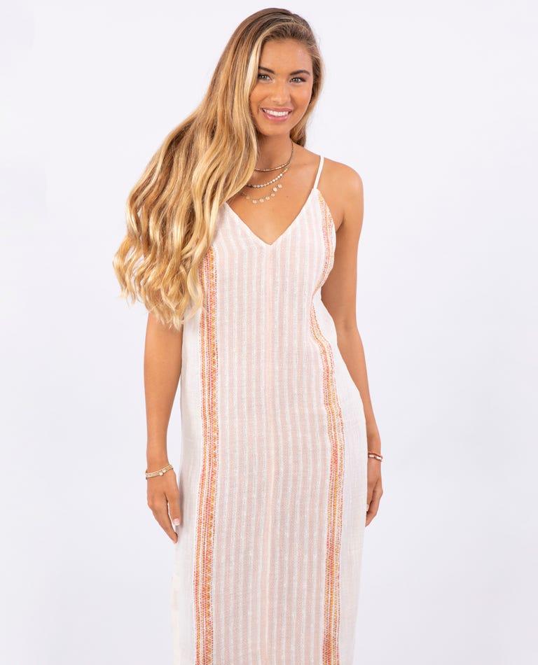 Baja Stripe Midi Dress in Bone