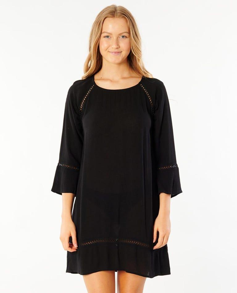 Rita Long Sleeve Shift Dress in Black