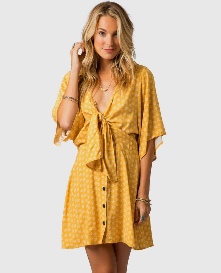 Coastal Tides Dress in Gold