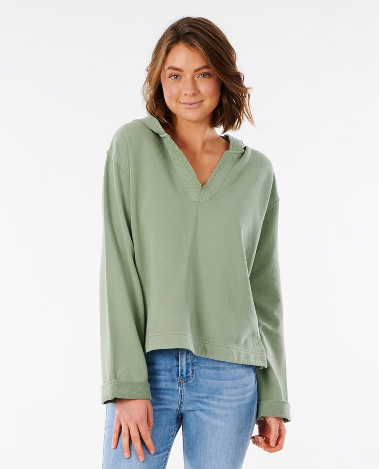 Organic Fleece Hood in Green