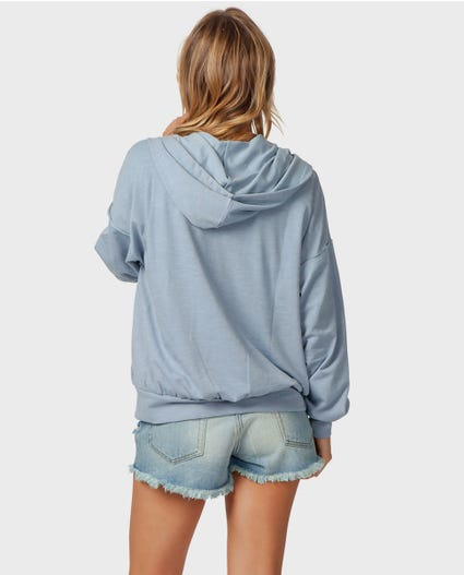 Surf Essentials Zip-Up Hoodie in Blue