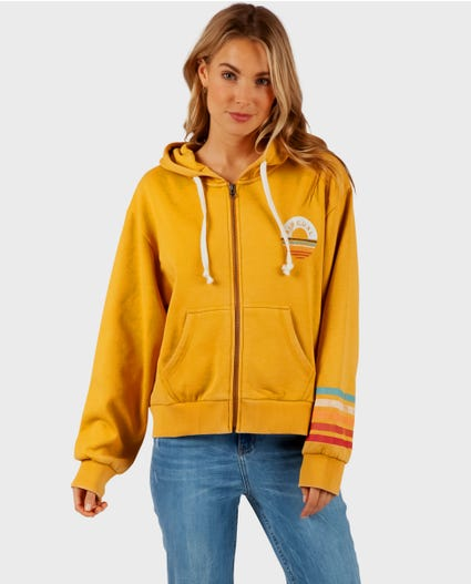 Surf Safari Zip Up Hoody in Gold