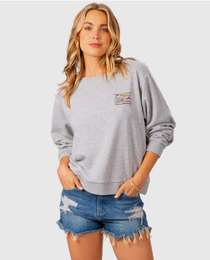 Gfk Ride Pullover Crew in Heather Grey