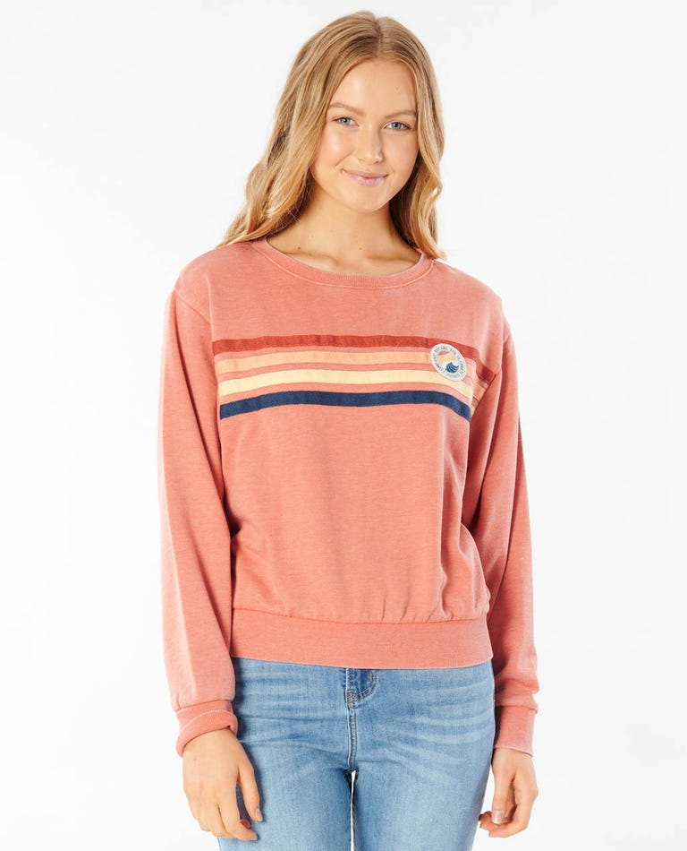 Ultimate Wave Crew Neck Fleece in Rhubarb